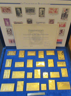 France 1988 - Bicentennial collection of 25 stamps in silver gilt with certificate of authenticity