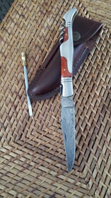 Original Damascus Steel french laguiole knife / hunting knife top quality (1845-08-4500)