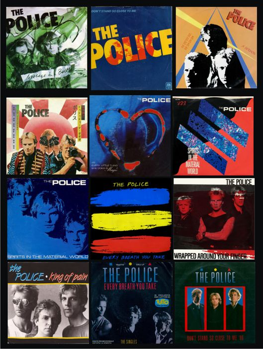"12 Singles of The Police in vinyl 7"", 45 rpm. Are present this titles: Message in a Bottle, Don't Stand so close to me, De do do do, Every Little Thing is Magic, Spirtits in the material world, etc"