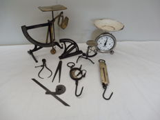 Lot of old appliances to weigh, measure and adjust, 9 pieces
