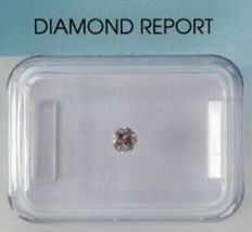 Diamond 0.12 ct natural greyish deep pink with IGI certificate - No reserve price -