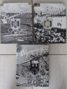 3 Collection picture albums incl. very rare covers: The Olympic Games of 1936 in Garmisch Partenkirchen and Berlin -  1936 and Los Angeles 1932