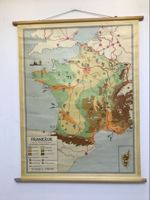 Old school poster map France - Catawiki