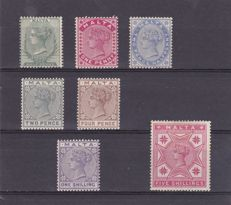Malta 1885/86 - Second Issue - Stanley Gibbons 21, 22, 23, 24, 27, 28 and 30