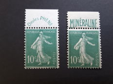 France 1924/1926 - Sower 10c green with advertisement strip Phena and Mineraline - Yvert no. 188 and 188A