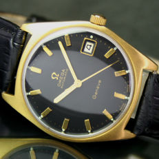 1960s OMEGA Geneve Automatic Date Roll Gold Steel Mens Watch