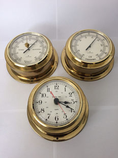 Junghans weather station in three parts: barometer, thermometer and hygrometer