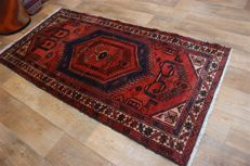 Hand-knotted original Persian carpet oriental Mousel approx. 200 x 103 cm used condition Iran antique