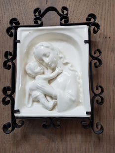 Mary with child, wall plaque, marked