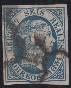 Spain 1851 - Isabel II, 6 reales, blue Marked Pfenninger - Edifil 10