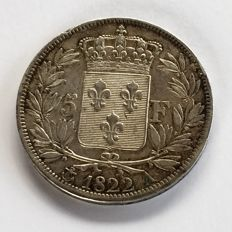 France - 5 Francs 1822 A (Paris) - Louis XVIII - argent