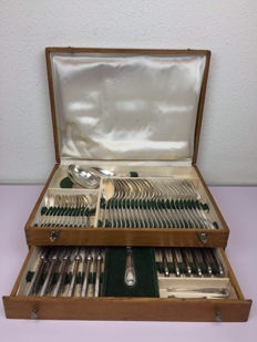 High quality heavily silver plated cutlery section - France - Ca. 1900