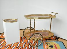 Attardi Sorrento (attributed) – Brass bar trolley and tray with wooden inlaying/marquetry – Hollywood Regency Style