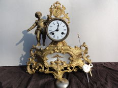 French romantic mantel clock on white alabaster – period 1880
