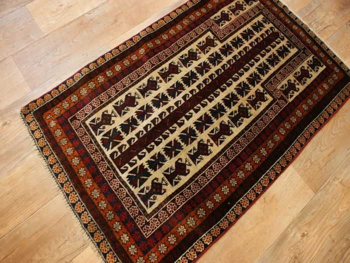 Hand-knotted original Persian oriental Balutch carpet approx. 133 x 82 cm, used condition, Iran, antique