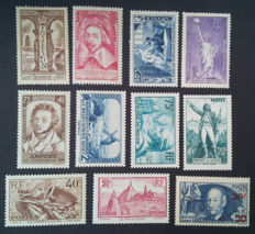 France 1933/1941 - semi-modern period, selection of 11 stamps - Yvert 209, 302, 305, 307, 309/311, 313/315 and 493