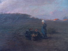 School of the early 20th century - Charley (?) - Coucher de soleil sur la campagne