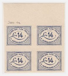 Italy, 1945 – Lieutenancy and Kingdom Umberto II, CORALIT private postal service – Sass. No. 1+1a and 8/12