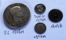 Kingdom of Italy - 5 liras 1808 M, 5 soldi 1813 M, 5 soldi 1810 M, and 1 centesimo, 1809 B, Napoleon (4 pieces).
