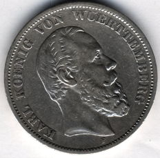 German Empire, Württemberg - 5 Mark 1876 F