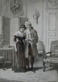 Adrien Moreau (1843-1906) Consoled by a gentleman.