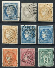 France 1850/76 - Ceres and Sage - Yvert no. 4, 41, 43A, 43B, 45, 46, 48, 49, 62