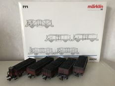 "Märklin H0 - 46034 - Carriage set including 5 ""Kolentransport"" (coal transport) cars of the DB"