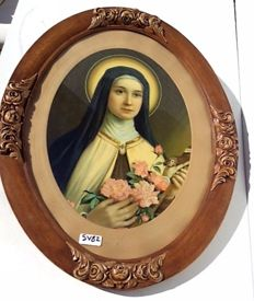Oval wooden frame with lithograph of the Rose Madonna, 1st half 20th century – Belgium