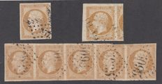 France 1853/1860 - 10 c bistre, strip of 5, cancelled gc 5095 Salonica and 2 selected stamps - Yvert 13a and 13b