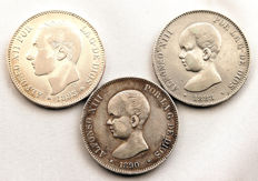 Spain - Alfonso XII and XIII - Lot of 5 silver pesetas - 1885*87 MSM, 1888 MPM, 1890 MPM - Madrid