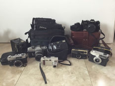 Lot of 9 vintage photo and video cameras, analogue and digital