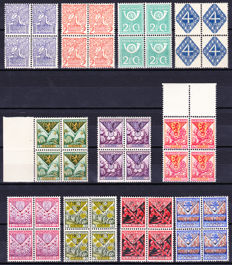 The Netherlands 1923/1927 - Selection of blocks of four - NVPH 110/113, 166/168 and 208/211.