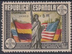 Spain 1938 – 150th anniversary of the Constitution of the United States.  Air Mail – Edifil 765