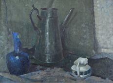 Continental school. (20th century) A still life of jugs and broken vase.