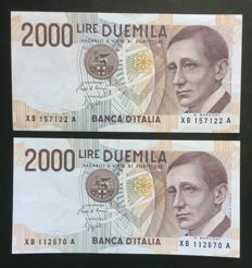 Italy - 2 x 2000 Lire G. Marconi 1992 - replacement series XB...A - ALFA BI.744sp