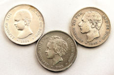 Spain - Alfonso XII and XIII - Lot of 5 silver pesetas - 1885*87 MPM, 1889, 1893 PGL - Madrid