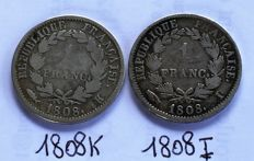 France - 1 Franc 1808-K & 1808-I (lot of 2 coins) - Napoleon I - silver