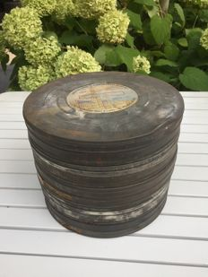 Old film canisters with various film reels.