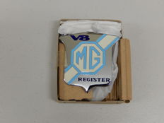 Vintage Chrome and Enamel MG V8 Register Car Badge Auto Emblem In Original Box with fitting