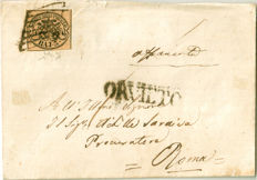 Papal State - 3 baj, straw yellow, cancelled on letter from Orvieto to Rome - Sass. No. 4d