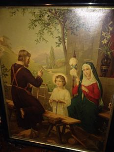 Oleograph of the Holy family in Saint Joseph's workshop