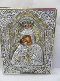 Mother God Byzantin icon - precious metal - Russia 20th century