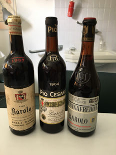 1964 Barolo Pio Cesare x 1 bottle - 1967 Barolo Bolla x 1 bottle - 1968 BaroloFontanafredda x 1 bottle / 3 bottles in total