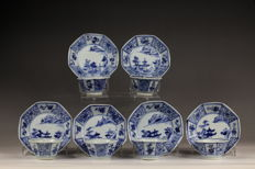 Six pair  'blue and white' porcelain cups and saucers - China - ca 1730