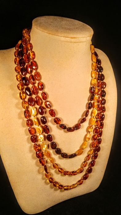 Vintage Extra long 100% Genuine Baltic amber necklace, length 220 cm, 47 grams
