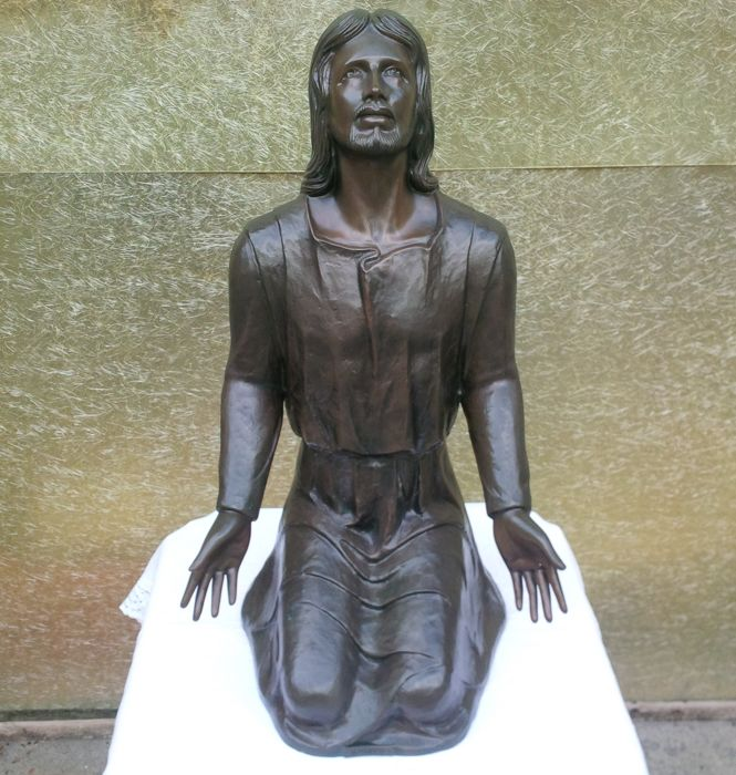 Great bronze statue -The Invocation of Christ - Italy - 20th century