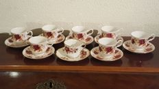 16 Piece lot English porcelain cups and saucers - Bone China made in England - Priory Dale Derbyshire - Staffordshire Royal Kent