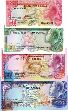 Saint Thomas and Prince - Complete 50-100000 dobras Emissions 1982 -1989 -1993 -2013 - 9 banknotes