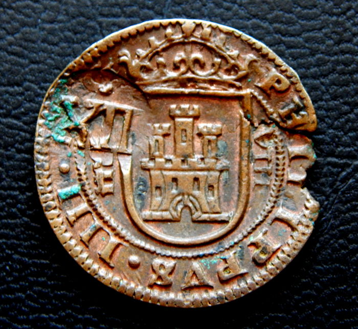 Spain – Felipe IV – 8 maravedis from the year 1626, Segovia mint. With overstamp. 12 maravedis from 1642.