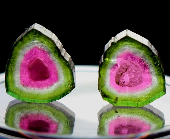 Pair of Perfect Watermelon Tourmaline Slices Lot - 11.25 cts (2)